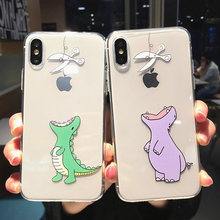 Moskado Cartoon Cute Animals Dinosaur Case For iPhone 7 8 6 6S Plus X XS XR XS Max 5 5s SE Clear Phone Cases Soft TPU Back Cover(China)
