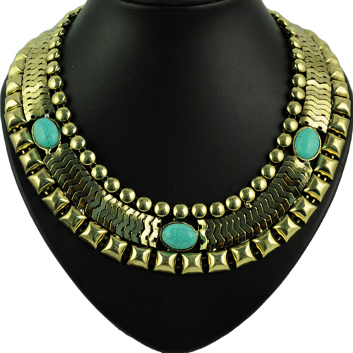 Vintage Exaggrate Antique Bronze calaite stone Embellished Wide Choker necklace women Big Punk Chain Type Necklace ,NL-1657