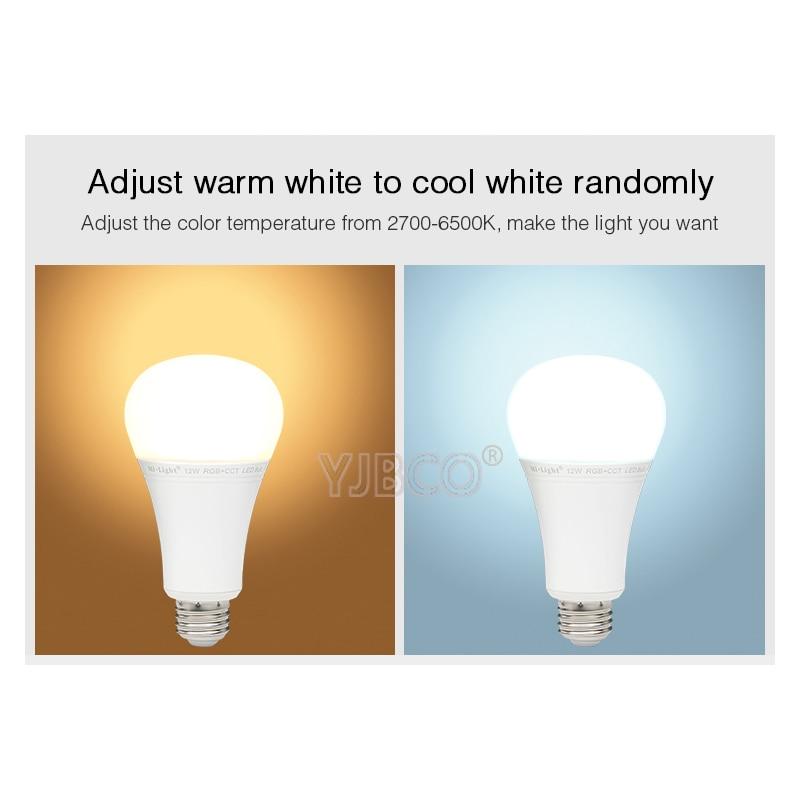 FUT105 Mi.Light 2.4G 12W RGB+CCT Wireless E27 LED Bulb Dimmable 2 in 1 Smart LED Light + FUT092 2.4G 4-Zone RF Remote 95 105 1 12