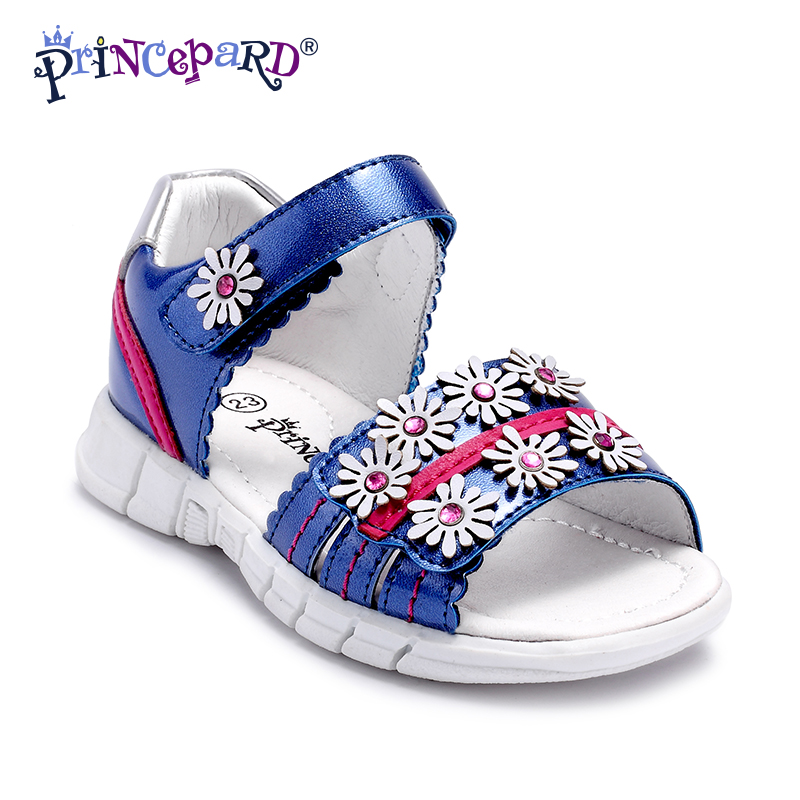 Princepard 2018 Floral Summer Girls Sandals Anti-kick Toe-cap Children Shoes Soft PU Leather Baby Girls Shoes Kids Sandals