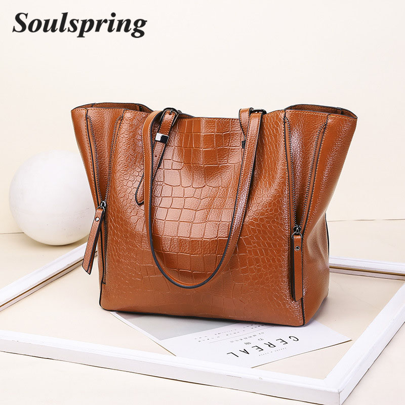 SOUSPRING Aligator Leather Bags Handbags Women Famous Brands Big Casual Tote Bags Women Shoulder Bag Ladies Large Bolsos Mujer 6 sets leather bags handbags women famous brands big casual women bags trunk tote brand shoulder bag ladies large bolsos mujer
