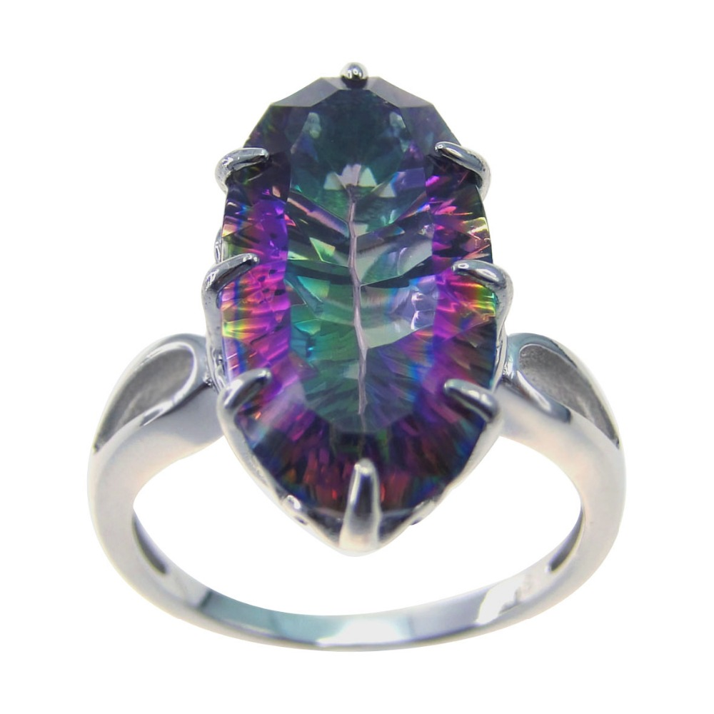 New Rainbow Mystic Topaz Ring 925 Sterling Silver Rings