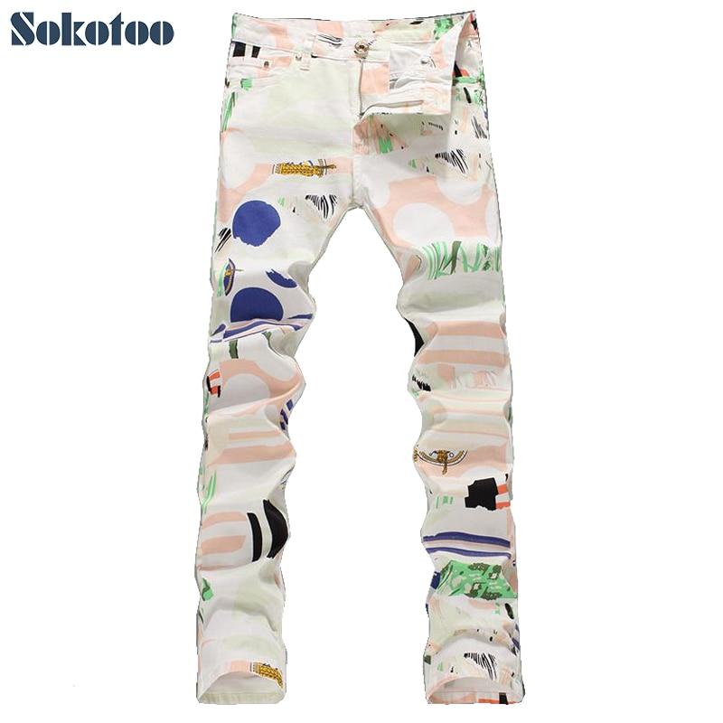 ФОТО Sokotoo Men's fashion slim fit thin denim print jeans Male colored drawing elastic pants Long trousers Free shipping