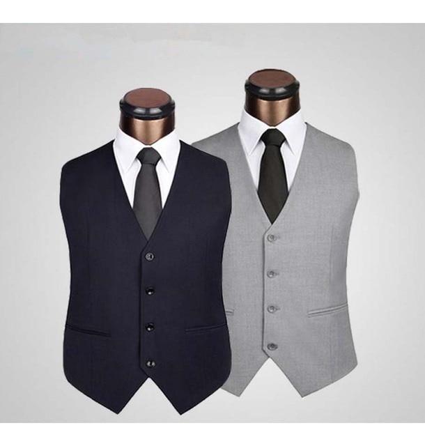 Men Gentleman Suit Vest Slim Fashion 4 Button Business Casual Spring Autumn Plus Size Waistcoat Man Tops Black/Grey/Dark Blue