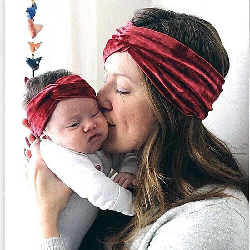 2PCS/Set Of Mama And Baby Velvet Elastic Wide Cross Hairband Turban Knot Flower Headband Baby Hair Accessories
