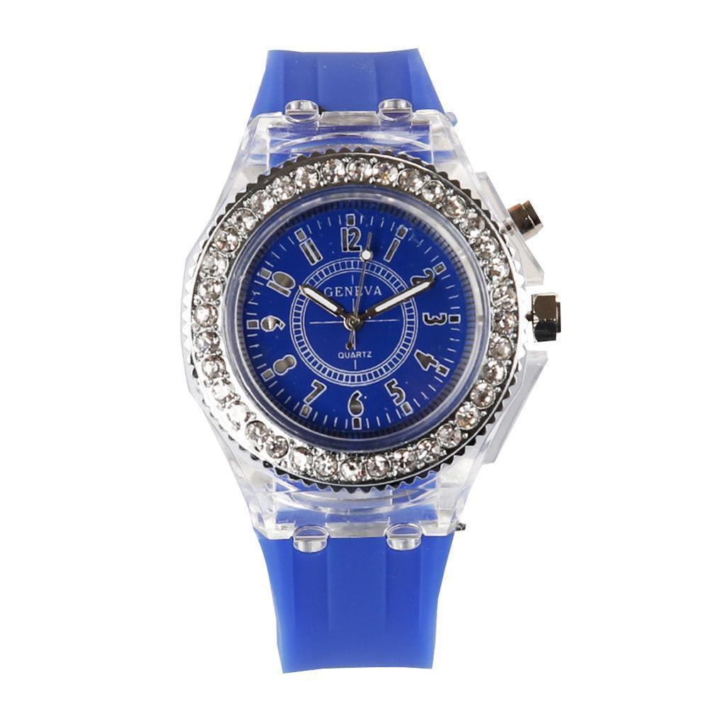 Светящийся светодиодный спортивные часы женские кварцевые часы женские силиконовые наручные часы светящиеся Relojes Mujer светодиодная светящаяся вспышка - Цвет: Синий