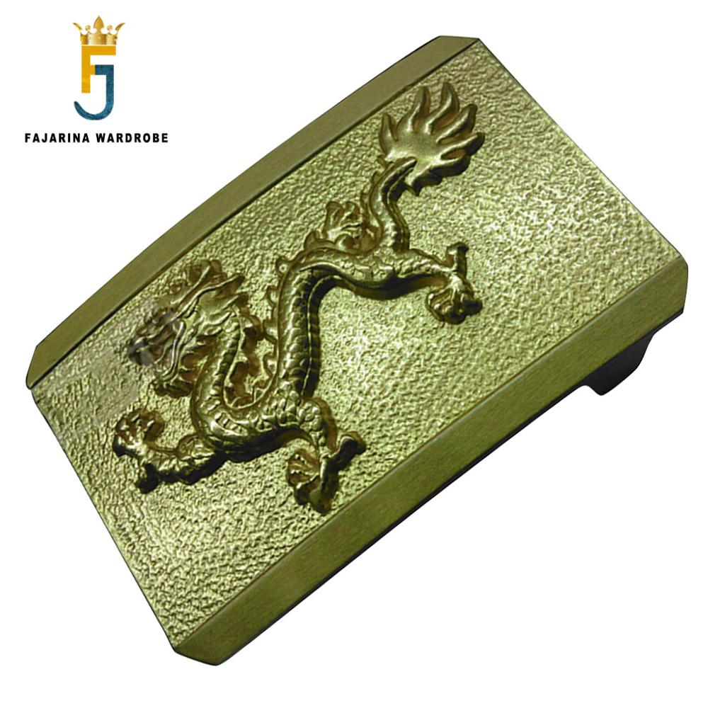 FAJARINA Unique Smooth Buckle Styles Chinese Dragon Map Embossed Belt Buckle Solid Brass Buckles For Men 3.8cm Width Belt BCK018