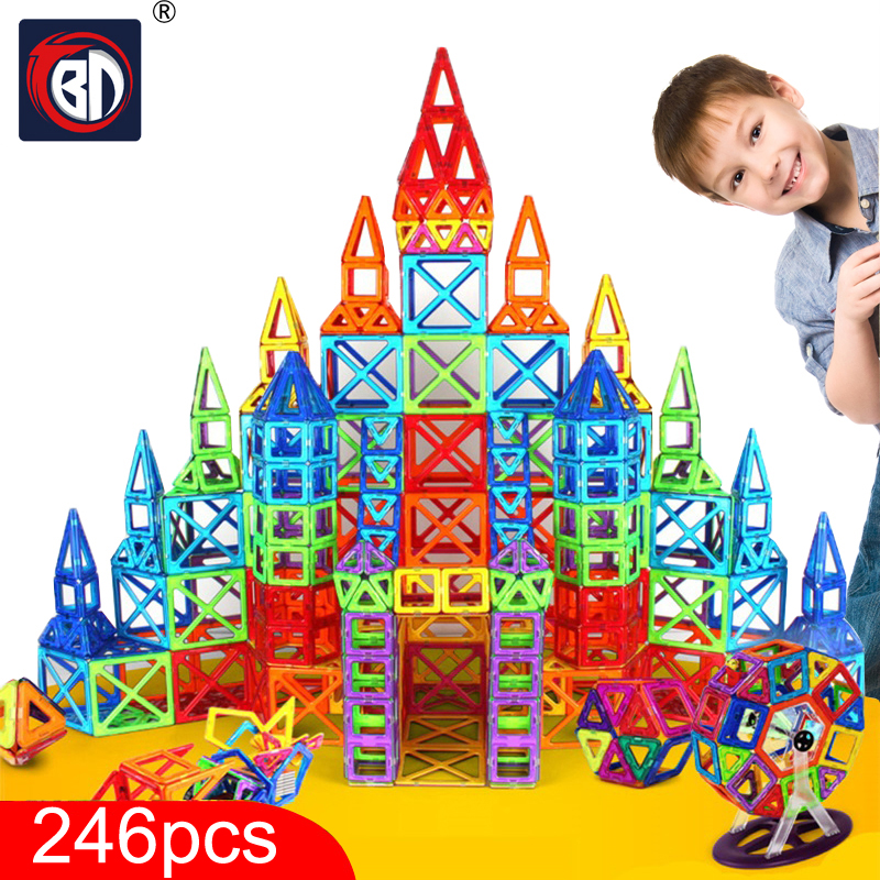 New 246pcs Blocks Magnetic Designer Construction Set Model & Building Toy Plastic Magnetic Blocks Educational Toys For Kids Gift 62pcs set magnetic building block 3d blocks diy kids toys educational model building kits magnetic bricks toy