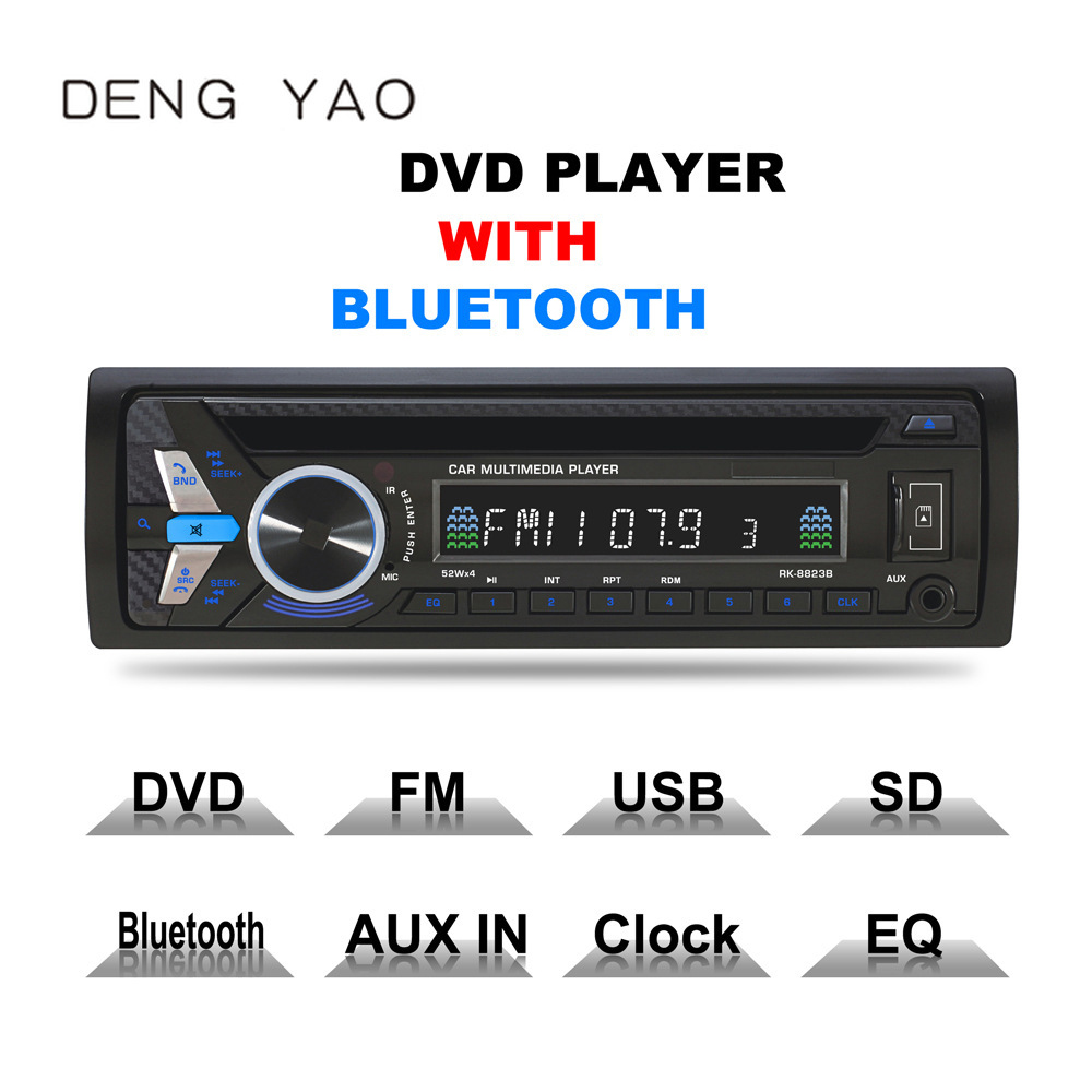 Deng yao Bluetooth 1DIN Car DVD 12V FM Aux Input Car Stereo Radio Audio Player Receiver CD VCD WMA MP3 Player with SD/USB Port
