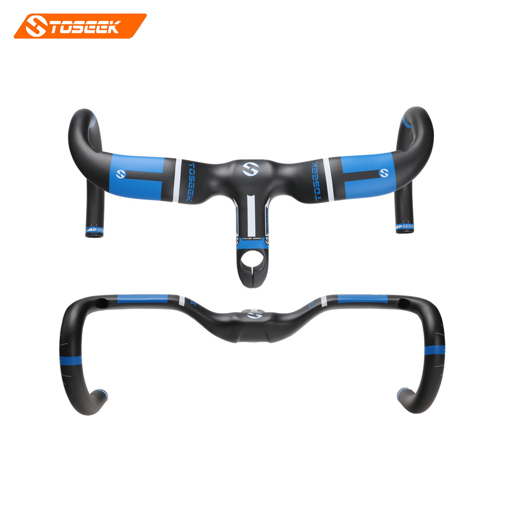 Toseek full carbon fiber road bike integrated handlebar bent handlebar UD matte blue 400/420440*90/100/110/120mm bike parts кпб d 97 page 9