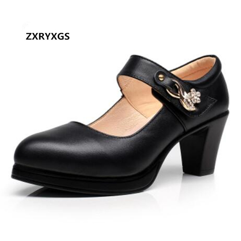 ZXRYXGS brand plus size Women Shoes high Heels 2018 new Spring Women High Heel Shoes Fashion Genuine Leather Shoes woman pumps цена