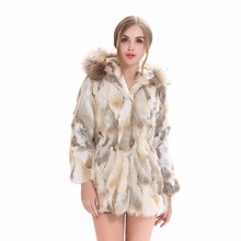ZY81043 2016 Newly Design Special Fur Styles Real Rabbit Fur With Raccoon Fur Hooded Winter Warm Fur Coat Women Fur Long Jacket куртка кожаная aliance fur aliance fur mp002xw18w7s