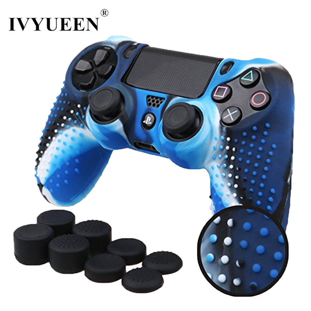 IVYUEEN New Version for Sony Dualshock 4 PS4 Pro Slim Controller Anti-slip Silicone Rubber Cover Skin Case + Thumbsticks Grips