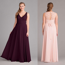 Newest Custom made Plum/Pink  v neck long Lace chiffon bridesmaid dress floor-Length dressed de festa dress longo BMD205