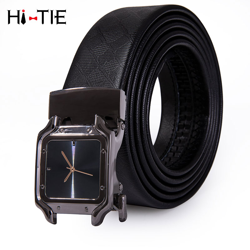 PD-2095 Brand Men   Belt   Automatic Genuine leather Black Business Style Ratche Buckle Fashion Watch Buckle   Belts   for Men Waist