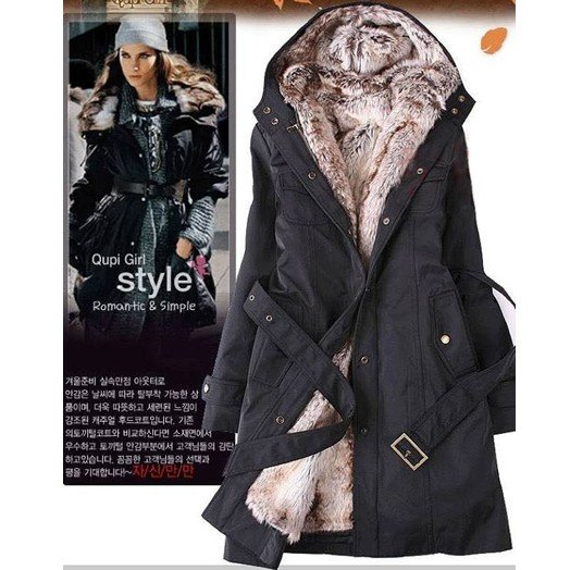 Free Shipping Women's Fur Coat Warm Long Coat 2in1 Hooded Fur ...