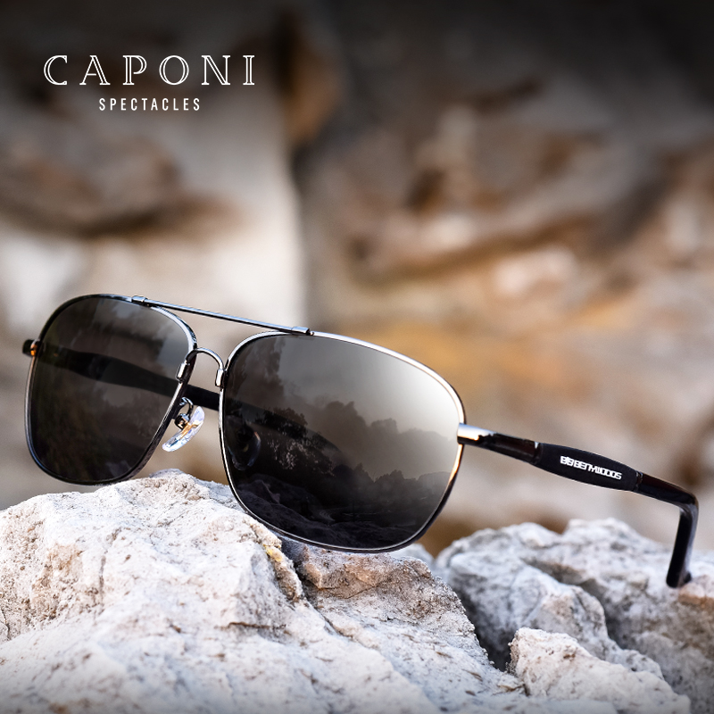 Caponi Men Polarized Sunglasses Stainless Steel Sun Glasses Driving Glasses Rectangle Shades For Men Oculos masculino BS10001