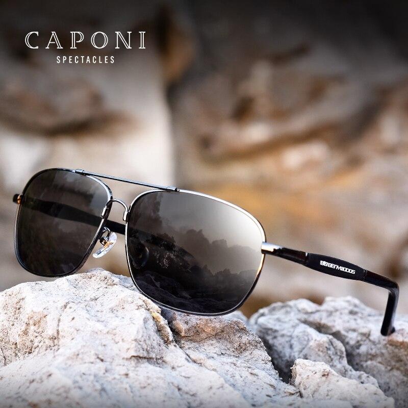 Caponi Uomini Polarizzati Occhiali Da Sole In Acciaio Inox Occhiali Da Sole di Guida Occhiali Rettangolo Tonalità Per Gli Uomini Oculos masculino BS10001