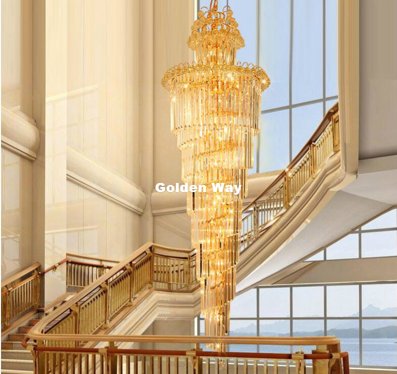 Kostenloser Versand Moderne Kristall kronleuchter LED Kerzenhalter Lampen Moderne Treppe Kronleuchter Villa Wohnzimmer Hängen Beleuchtung - 3