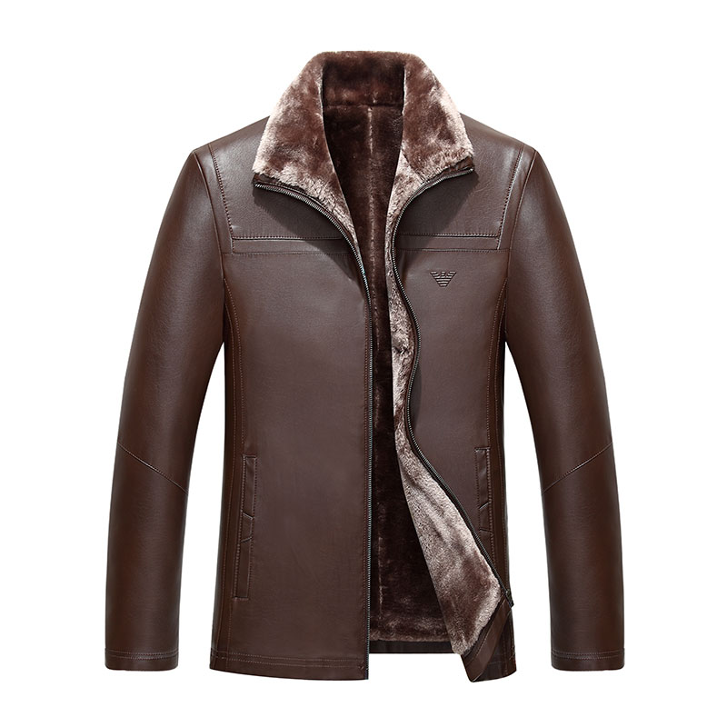 KUYOMENS Winter Leather Jacket Men Thickening Warm Windbreak Outwear Lamb Fur Collar mens leather Jackets and Coats Plus Size