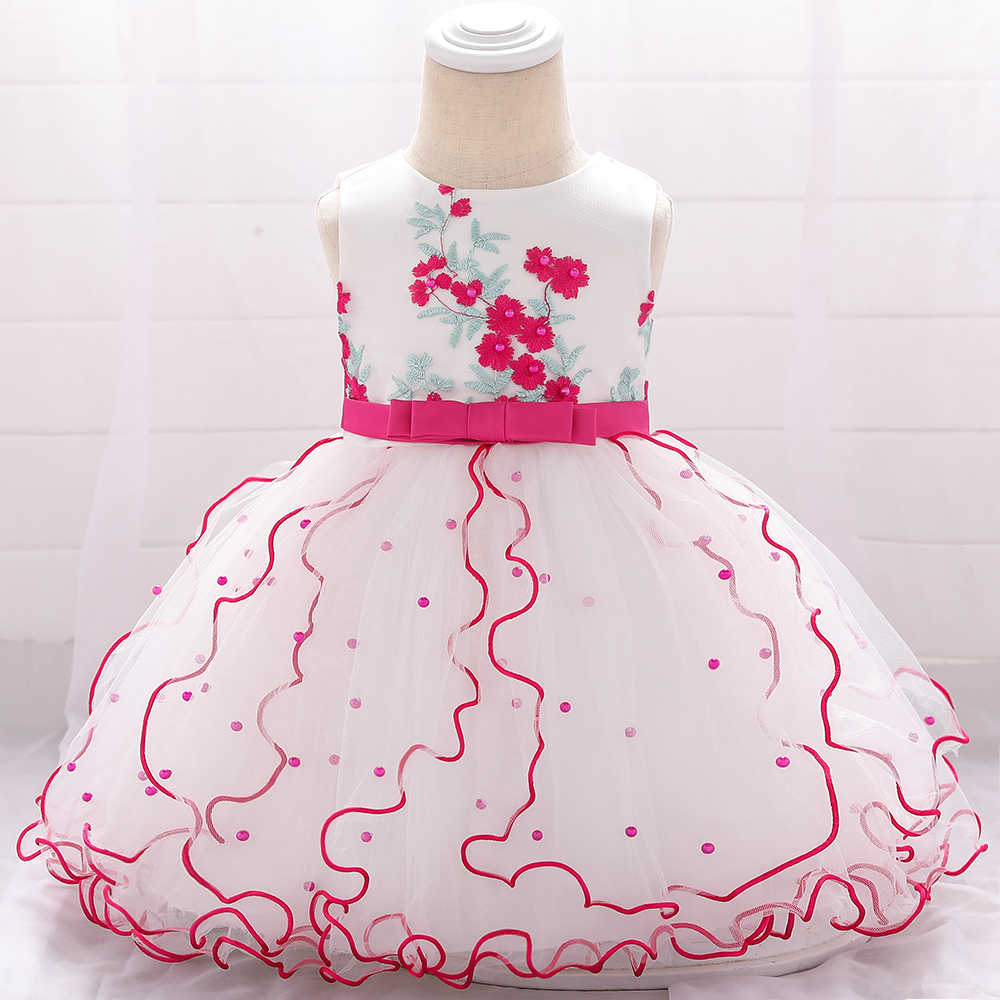 Beaded Embroidered Flower Tutu Lace New Born Baby Girl Dresses Birthday  Baptism Princess Floral Kids Girl Baby Dress L8XZ