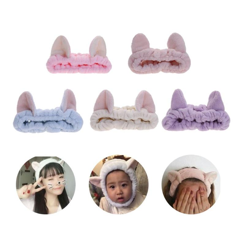 Cute Elastic Cat Ears Headbands Women Girls Makeup Face Washing Headband Hair Headwrap Hairband Hair Accessory