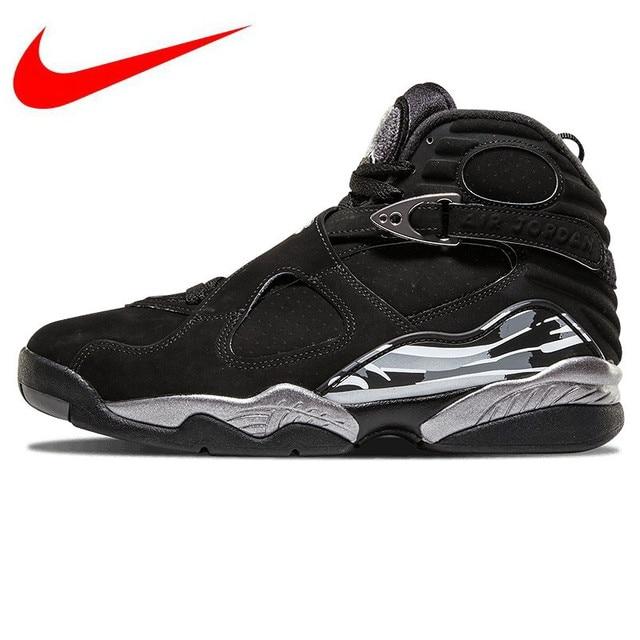 66d36eb840ac Original NIKE Air Jordan 8 Joe 8AJ8 Black and Silver Triple Engraved Men s  Basketball Shoes Sneakers 305381 003