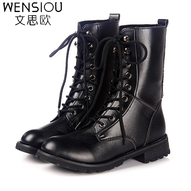 купить WENSIOU 2017 Women Leather Snow Boots Ladies Casual Autumn Shoes Lace Up Round Toe PU Fashion Women Boots Footwear DT1035 недорого