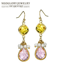 Neoglory Simulated Pearl & Glass Dangle Earrings Elegant Warm Colorful Cute Romantic Lady Party Classic Holiday Dress Sale