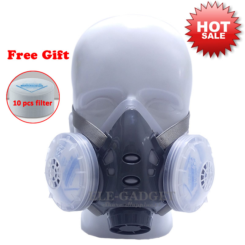 High Quality Dust Mask Respirator With Dual Filter Half Face Mask For Carpenter Builder Miner Polishing Dust-proof eyki h5018 high quality leak proof bottle w filter strap gray 400ml
