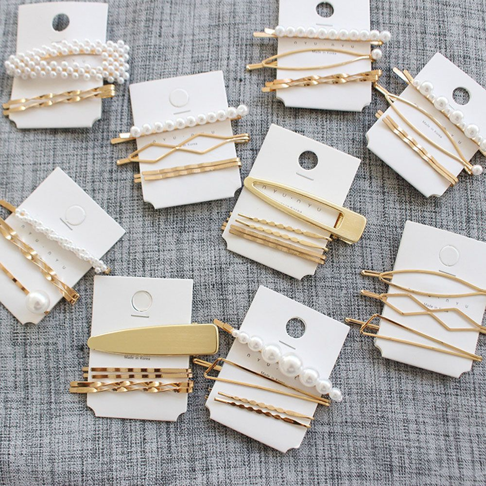 3-5 PCS New Fashion Women Girls Elegant Pearl Geometric Alloy Hair Clips Barrettes Headwear Hairpins Female Hair Accessories