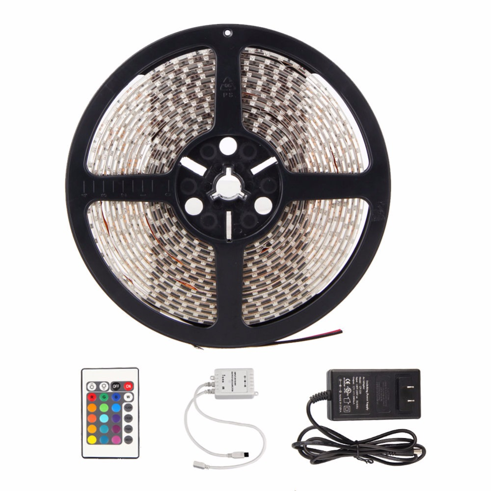 3528 RGB LED Strip Waterproof 5M 300LED DC 12V LED Light Strips Flexible Neon Tape with 24 Key IR Remote RGB controller72W Power