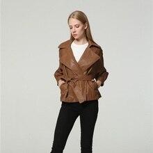 Pu Leather Jacket Women Fashion Bright Colors Black Motorcycle Coat2019NewShort Faux Leather Biker Jacket Soft Jacket Female5XL недорого