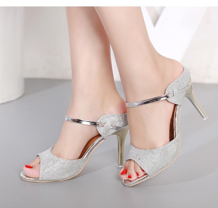 LAKESHI Summer Women Pumps Small Heels Wedding Shoes Gold Silver Stiletto High Heels Peep Toe Women Heel Sandals Ladies Shoes 14