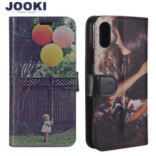 JOOKI portfel ze skóry pu skórzane etui dla iphonea x 8 Plus 7plus 6 6plus 5S twój własny projekt etui z klapką na zamówienie ręcznie wykonany nadruk futerał na telefon ze zdjęciem pokrywa