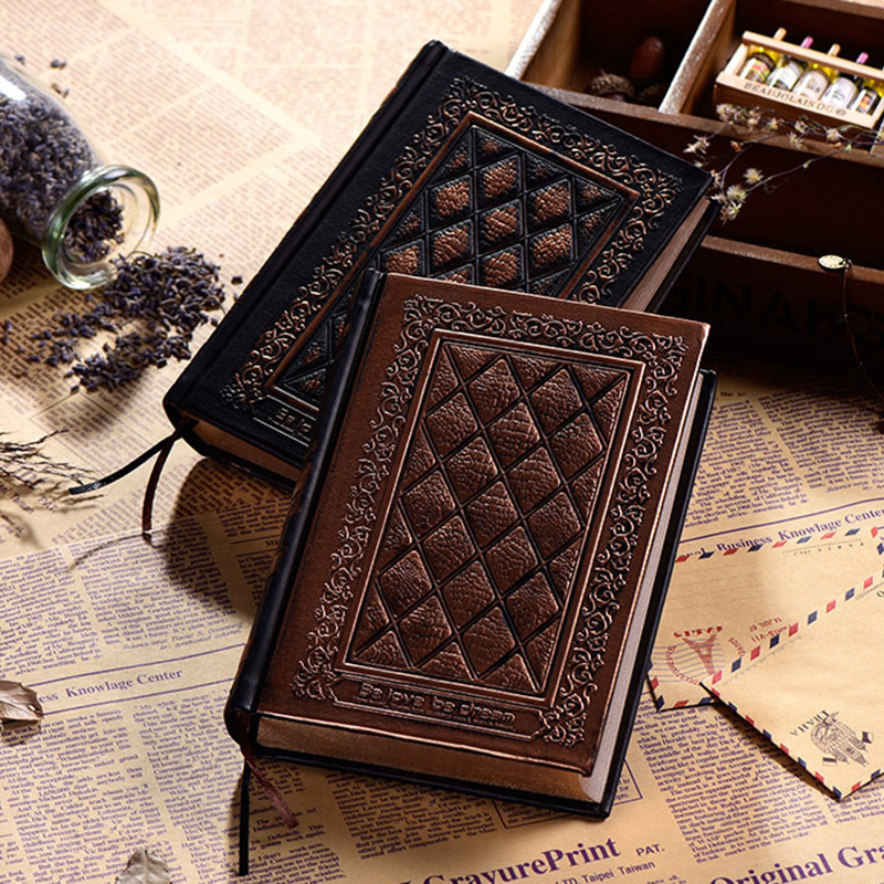 European Vintage Emboss Hardcover Notebook Luxury Leather Cover Black Gold Diary Journal Book Office School Stationery Supplies