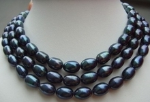 "women's jewelry  Solid Gold 49""HUGE surprising AAA south sea black baroque pearl necklace"