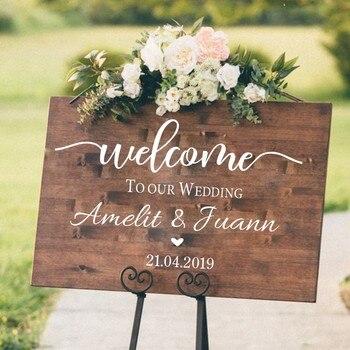 Boda ceremonia signo de bienvenida pegatina de pared personalizada novia novio nombres vinilo calcomanía boda tabla espejo murales decoración AZ841