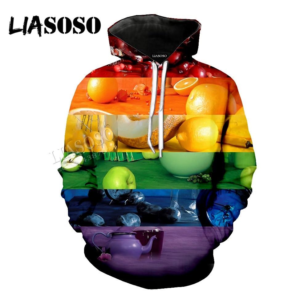 LIASOSO new neutral high quality fruit mosaic 3D printing seven color rainbow shirt /Hat coat / pullover / zipper hoodie CX028