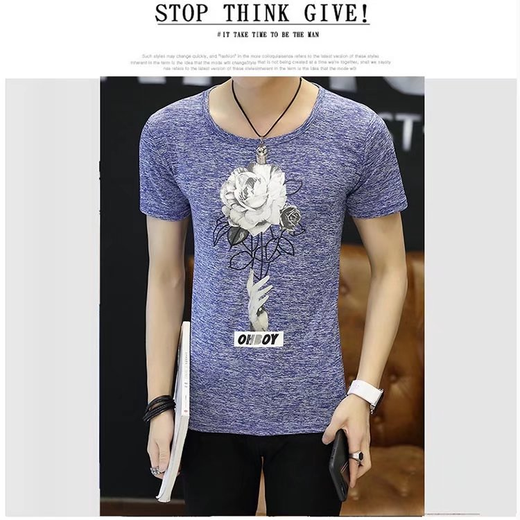 Spring 100% Cotton Casual Short Sleeve Rose Printing Men T Shirt O-neck Knitted Comfortable Fabric Street Style Men T-shirt 49
