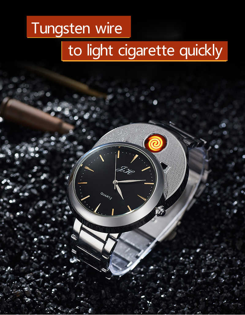 Men watch Creative Flameless USB Lighter watches Men Quartz Wristwatches Tungsten Steel Watchband Cigarette Lighter clock JH329