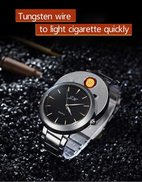 Мужские часы, креативные беспламенные часы с USB зажигалкой, Мужские кварцевые наручные часы, ремешок для часов из вольфрамовой стали, сигарета, Φ JH329