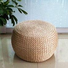 Твердая древесина простая маленькая скамейка соломенная ротанговая круглая для обуви скамейка Подушка табурет домашний диван скамейка барный стул