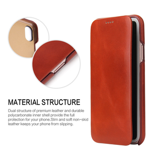 Image 2 - For iPhone X XR Genuine Leather Phone Case Slim Cowhide Cover Business Real Leather Magnetic Smart Cover for Apple iPhone XS Max