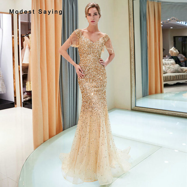 0788d7042186 Luxury Gold Mermaid V Neck Beaded Evening Dresses 2019 with Tassel Short Sleeves  Formal Long Sparkly Engagement Party Prom Gowns