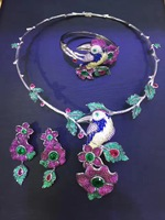 925 sterling silver with cubic zircon bird and flower jewelry set necklace bracelet and earring fashion women jewelry
