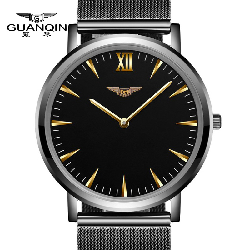 Mens Watches Top Brand Luxury GUANQIN Men Ultra Thin Wristwatch Stainless Steel Quartz Watch Men Relogio Masculino