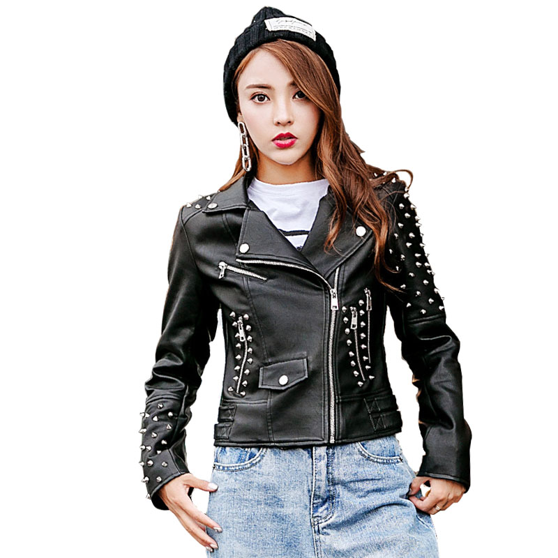 2018 Spring Punk   Leather   Jacket Women Spikes Stars Slim Rivet Motorcycle Black Faux   Leather   Coats LF17013
