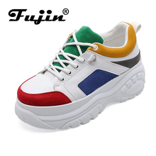 Fujin Women Shoes 2019 Spring New Small White Dropshipping Female Color Stitching Thick Tire Bottom Casual