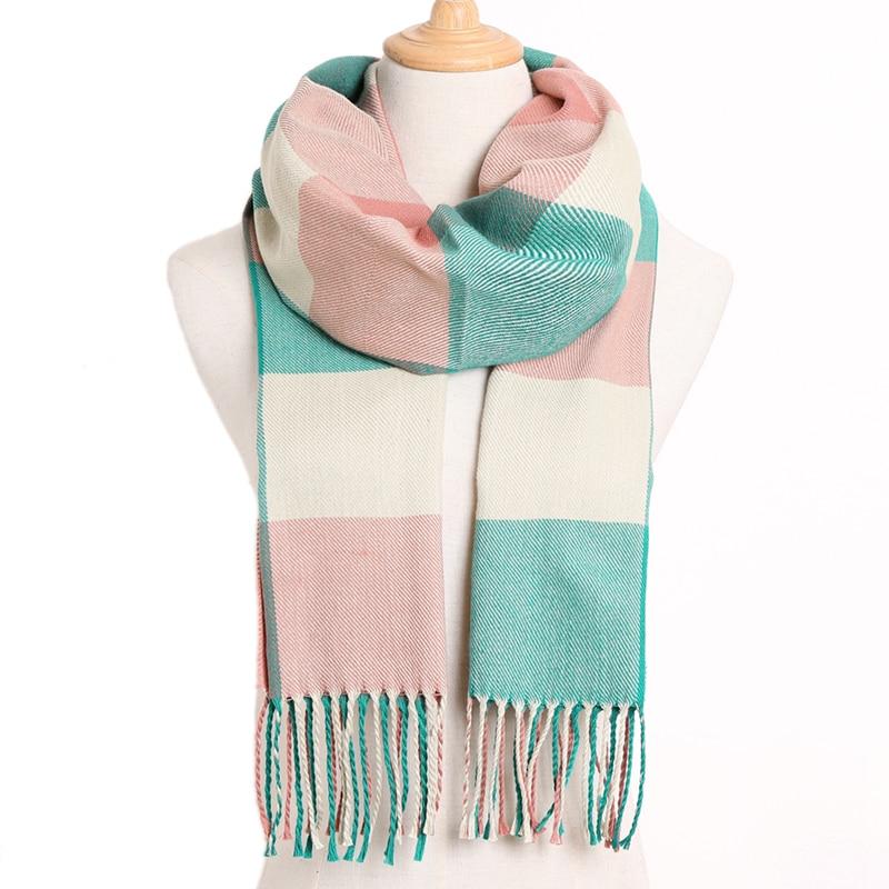 [VIANOSI] клетчатый зимний шарф женский тёплый платок одноцветные шарфы модные шарфы на каждый день кашемировые шарфы - Цвет: 04